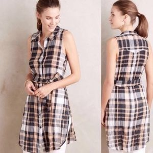 ANTHROPOLOGIE Holding Horses Plaid Belted Tunic 4